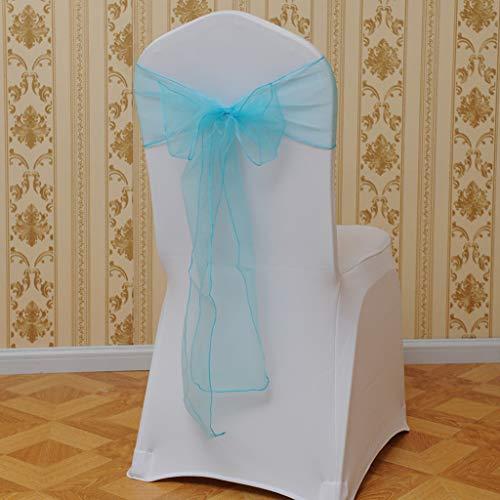 Gotian 5PCS Flower Bow Chair Back Cover Net Sash Back Ties Elegant Party Decor Multi-Color - Chair Sash Decorations - 5X Chair Back Flower(15x275cm) (Light Blue)