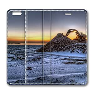 iPhone 6 Leather Case, Personalized Protective Flip Case Cover Excavator for New iPhone 6