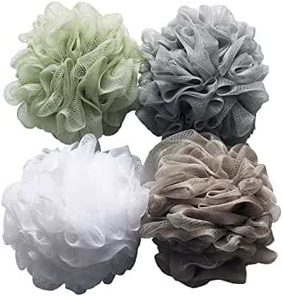 Bath Shower Sponge Loofahs (60g/pcs) Mesh Pouf Shower Ball, Mesh Bath and Shower Sponge Pack of 4