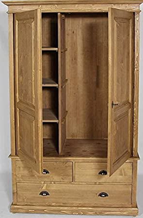 interesting armoire pin massif portes tiroirs penderie tagres with armoire penderie bois massif. Black Bedroom Furniture Sets. Home Design Ideas