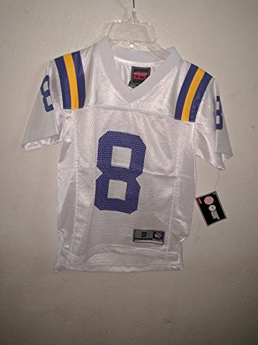 LSU Tigers #8 White Youth Size Large Jersey New w Tags Genuine Stuff (Large New Tags)