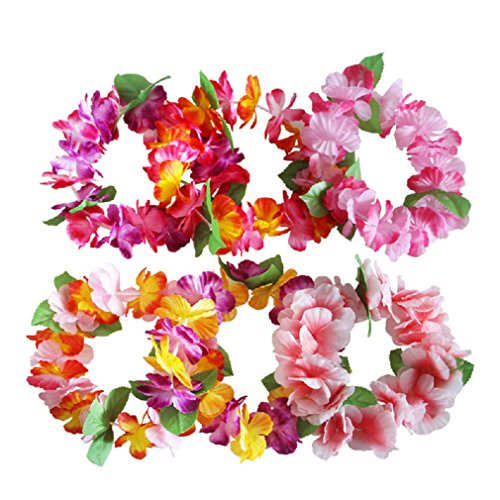 6PCS Hawaiian Wreaths Headband Tropical Luau Flower Headpiece Leis, Thicker Floral Crown for Summer Beach Pool Party Decorations Favors Supplies]()
