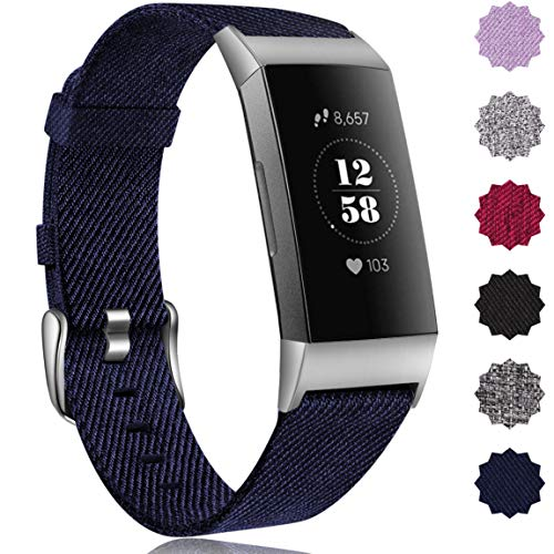 Maledan Replacement for Fitbit Charge 3 Bands Women Men, Breathable Soft Woven Fabric Smart Watch Strap Accessories Wristband Compatible with Fitbit Charge 3 Fitness Activity Tracker, Small, Dark Blue