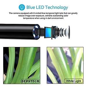 USB Endoscope, Depstech 2 in 1 Semi-rigid Borescope Inspection Camera 2.0 Megapixels CMOS HD Waterproof Snake Camera with 6 Adjustable Led Light - 16.4 ft(5 Meter)