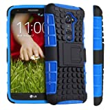 Fosmon HYBO-RAGGED Series Detachable Hybrid TPU + PC Case Cover for LG G2 / Optimus G2 - Fosomon Retail Packaging (Blue/Black)