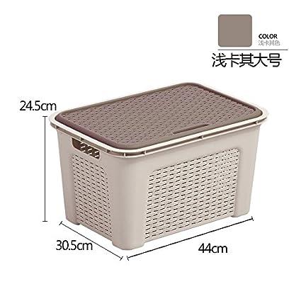 TIANLIANG04 Cajas de almacenaje Cocina Cestas De Almacenamiento De Plástico Con Tapa Expuestos Cesta Papelera De