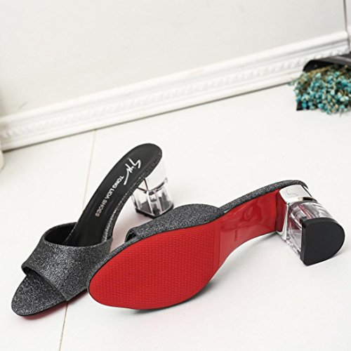 bescita Frauen Mode Sommer Mid Heel Flip Flop Sandalen Slipper Böhmen Schuhe (39, Schwarz)