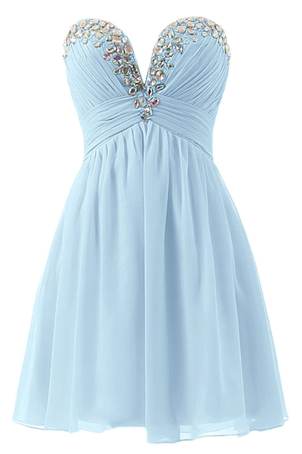 Sunvary Rhinestones A-Line Sweetheart Chiffon Party Gowns Evening Dress Bridesmaid Dresses