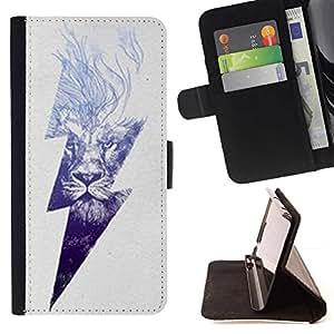 Momo Phone Case / Flip Funda de Cuero Case Cover - Rayo Ac Corriente León Poder Gris - Sony Xperia Style T3