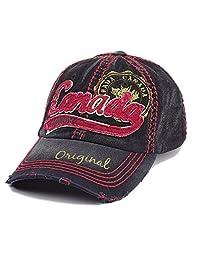 Curved Brim Black and Red Vintage Canada Baseball Cap Original Hat