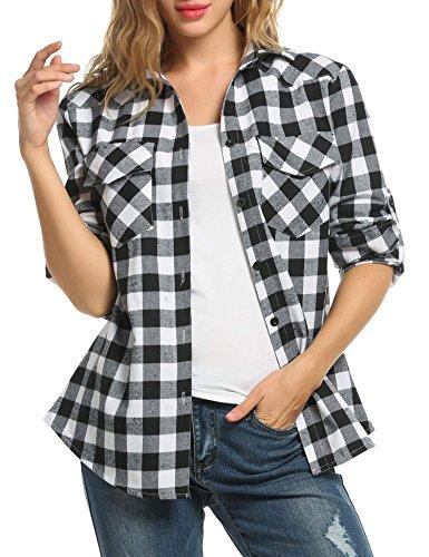 Automne Shirt Femme Casual Zeagoo Carreaux Blouse Coton Chemise Chemisier Blanc T Y55qw0z