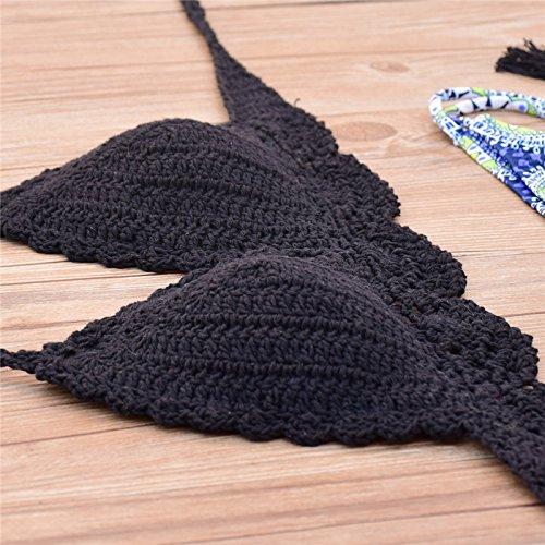 Uskincare Traje de Baño Mujer Tejido de Punto Bikini Bañador Bajo la Cintura Playa Mar Verano 7-Azul