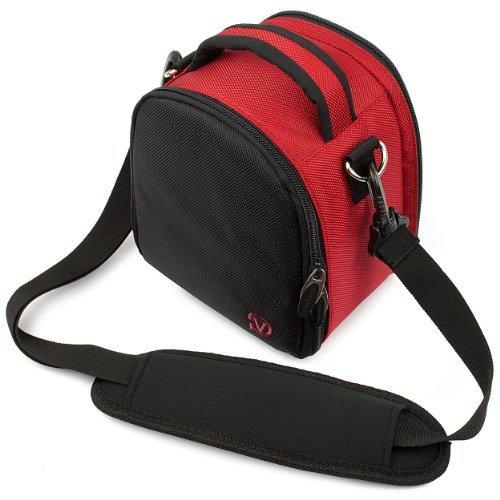 VanGoddy Laurel Carrying Bag for Nikon D4s / D4 / D3S / D3X / D3 Digital SLR Cameras + Mini Tripod + Screen Protector (Red)