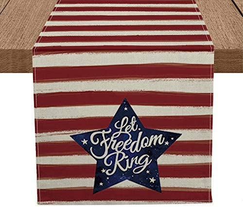 Artoid Mode Patriotic Watercolor Stripes Star Table Runner Let Freedom Ring, Seasonal 4th of July Memorial Day Independence Day Kitchen Dining Table Decoration for Home Party Decor 13 x 72 Inch