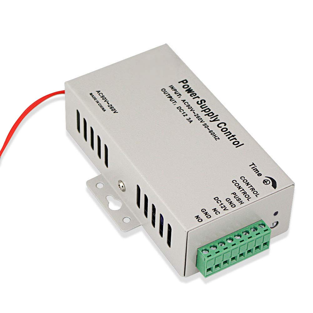 NN99 Fuente de alimentaci/ón del sistema de control de acceso DC12V 3A 36W Salida AC90-260V 50 60Hz con Time Delay Negro Peque/ño para cerraduras electr/ónicas Sistema de intercomunicaci/ón con video