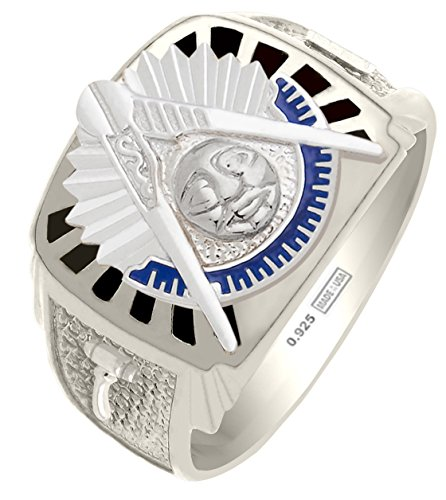 Past Masters Jewel (Customizable Solid Back Mens 0.925 Sterling Silver Gold Masonic Past Master Ring)