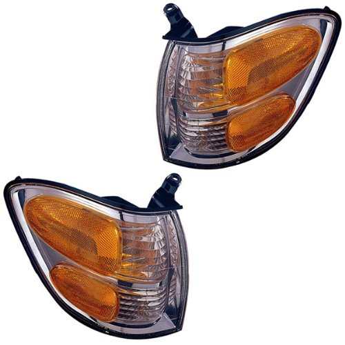 2001-2002-2003-2004 Toyota Sequoia & 2004 Tundra Pickup Truck Park Corner Lamp Turn Signal Marker Light Pair Set Right Passenger AND Left Driver Side (01 02 03 04)