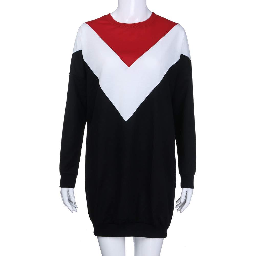 Long Sleeve Shift Dress,Fashion Sweatshirt Dress Womens Color Block Casual Long Sleeve Loose Pullover