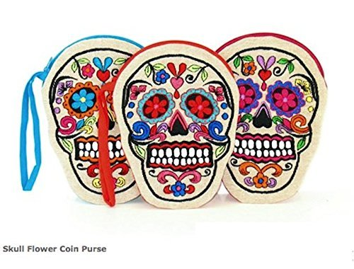 Indigo Desert Ranch - Day of the Dead Embroidered on Linen Sugar Skull Coin Purse - Assorted Colors Sold Individaully
