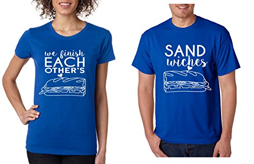Allntrends Couple T Shirt We Finish Each Other's Sandwiches Love Couple Tops (Womens S Mens S, Royal Blue) by Allntrends
