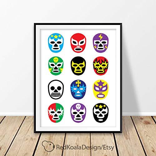 - MalertaART Art Print Lucha Libre Print Mexico Print Luchador Print Lucha Libre mask Wrestling Poster Art Framed Wall Art