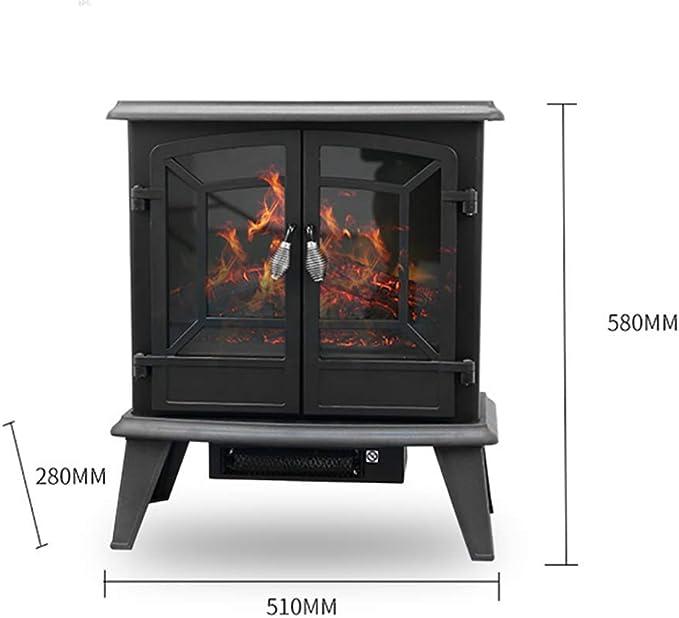 WEIZI Chimenea Independiente Negra 1800W & ndash; Calentador eléctrico con Estufa de leña Efecto de Llama para Sala de Estar Dormitorio: Amazon.es: Hogar