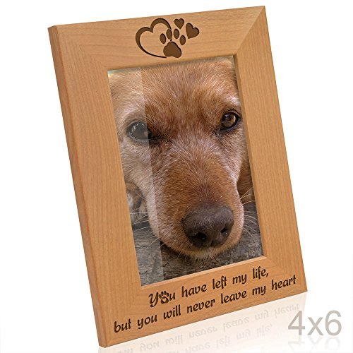 Kate Posh - You have left my life, but you will never leave my heart - Paw prints on my Heart Memorial Wood Picture Frame (4x6 Vertical)