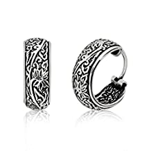 WithLoveSilver 925 Sterling Silver Oxidized Floral Bali Design Hoop Earrings
