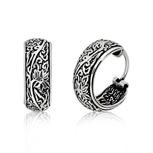 WithLoveSilver 925 Sterling Silver Oxidized Floral Bali Design Hoop Earrings (Oxidized Floral Design Ring)
