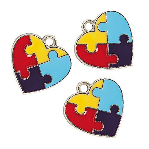 Fun Express - Autism Heart Charm - Craft Supplies - Adult Beading - Charms - 36 Pieces