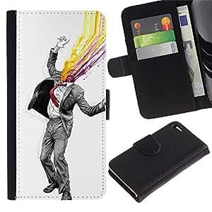 Resumen Gentleman - la tarjeta de Crédito Slots PU Funda de cuero Monedero caso cubierta de piel Para Apple Apple iPhone 4 / iPhone 4S