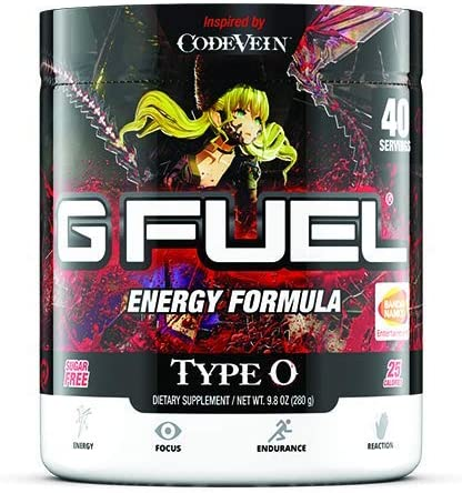 G Fuel Type O Tub 40 Servings Elite Energy and Endurance Formula 9.8 oz. Inspired by Code Vein Mia Label