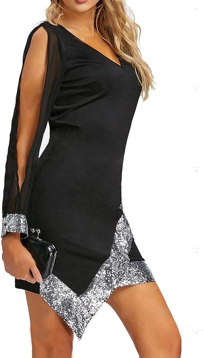 Longra Abito Manica Lunga in Chiffon Vestito Irregolare Mini Vestito V-Collo Abito da Cocktail Partito Nero Business Dress Abito Vintage Eleganti