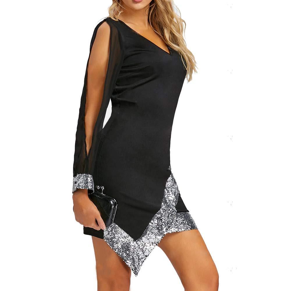 a94b8306e beautyjourney Vestido de Fiesta con Cuello de Pico para Mujer Vestido  Ajustado asimétrico Delantero Vestido de Noche Vestido de cóctel Clubwear  de ...