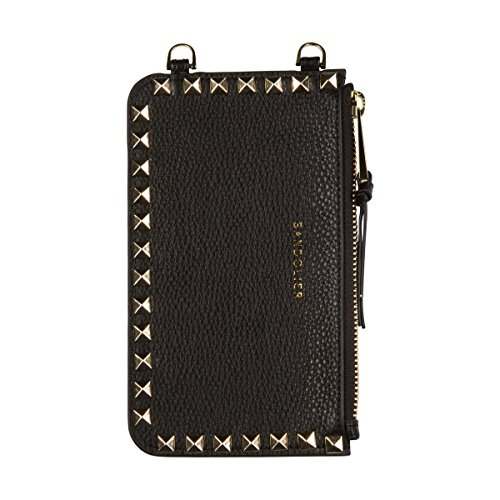 Gold Studded Leather Snap - Bandolier [Sarah] Leather Pouch - Black with Gold Accent and Pyramid Studs - Compatible with All Bandolier Phone Cases