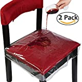 Chairs Dining OULII Chair Protector Waterproof PVC Dining Chair Covers Removable, Pack of 2