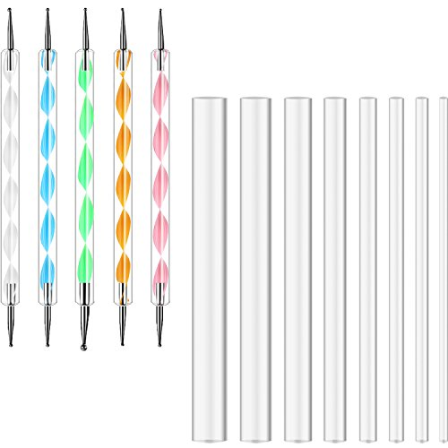 Hestya 13 Pieces Mandala Rock Dotting Tools Nail Art Painting Tools Set, Including 8 Sizes Flat Head Acrylic Dotting Rods and 5 Pieces Ball Stylus Pens (Transparent)