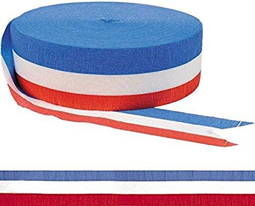 FEPITO 15 Rolls Patriotic Crepe Streamers Red Blue White Crepe Paper Streamers Red Streamers Party Streamers for 4th of July Independence Day Decoration and Patriotic Events