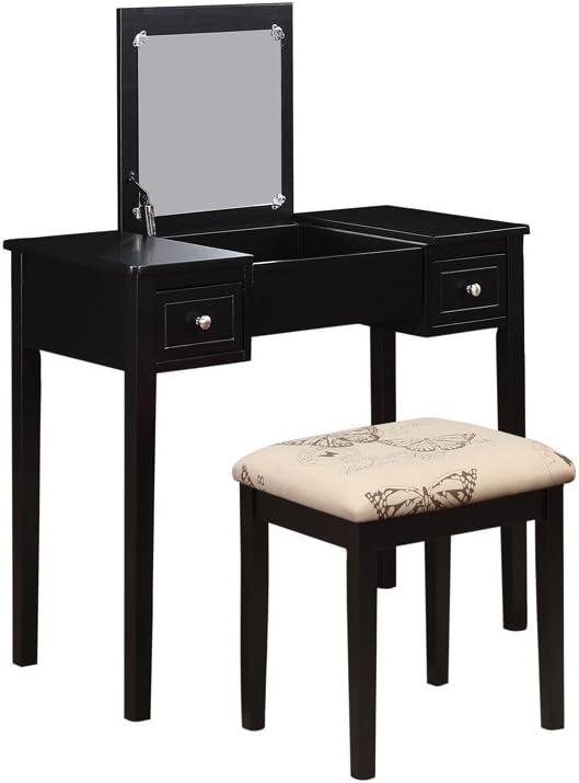 Linon Vanity Set, Black