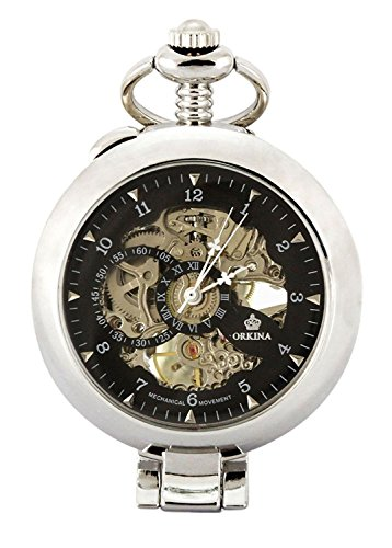Carrie Hughes Vintage Open face Steampunk Skeleton Mechanical Pocket Watch with Chain CH79 by Carrie Hughes (Image #7)