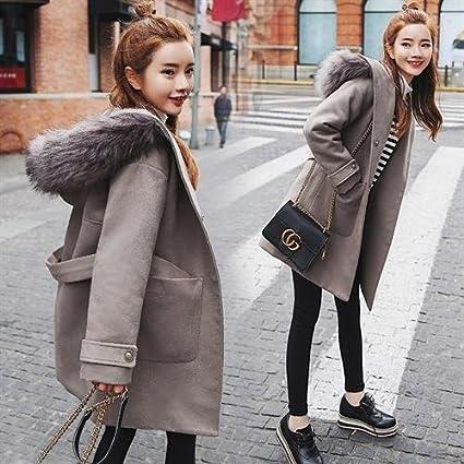 Womens HIDRRU Lana la longitud del pelo en el largo abrigos, la lana que Corea