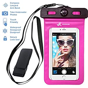 ⚡ [ PREMIUM QUALITY ] Universal Waterproof Phone Holder with ARM BAND, COMPASS & LANYARD - Best Water Proof, Dustproof, Snowproof & Shockproof Pouch Bag for Apple iPhone, Android & All SmartPhone