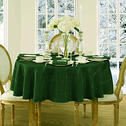 Newbridge Elegance Plaid Christmas Fabric Tablecloth, 100% Polyester, No Iron, Soil Resistant Holiday Tablecloth, 90 Inch Round, Hunter Green -