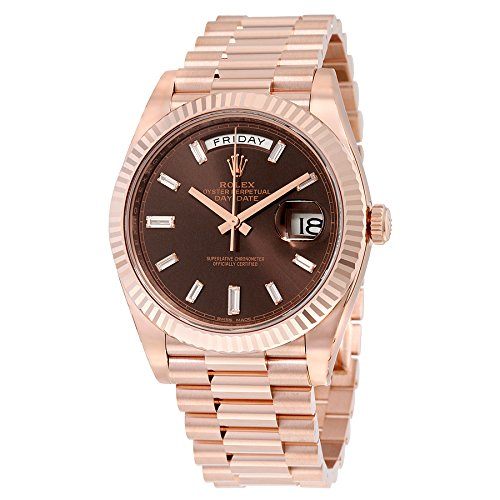 Rolex Day-Date 40 Automatic Chocolate Baguette Diamond Dial 18kt Everose Gold Mens Watch 228235CHDP