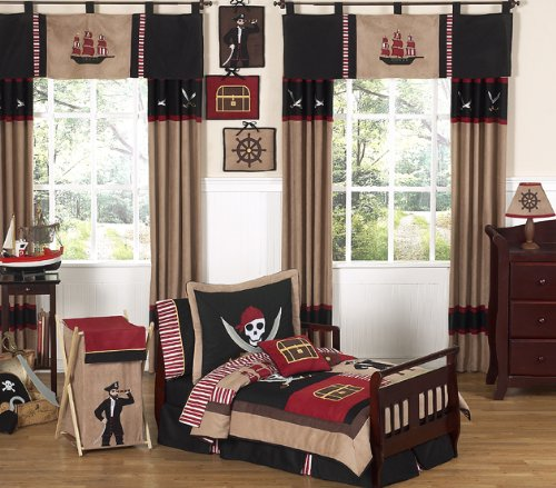 (Sweet Jojo Designs 5-Piece Treasure Cove Pirate Toddler Boy Bedding Set)