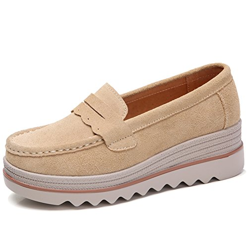 HKR Womens Wide Platform Shoes Casual Slip On Penny Loafers Comfortable Wedge Sneakers Tan US 8 MH8775xingse40 for $<!--$35.99-->