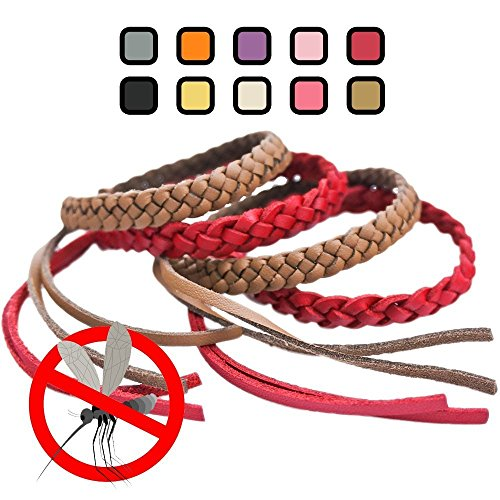 Waste Material Costumes (Original Kinven Mosquito Insect Repellent Bracelet Waterproof Natural DEET FREE Insect Repellent Bands, Anti Mosquito Protection Outdoor & Indoor, Adults & Kids, 8 bracelets, in Brown/Red)