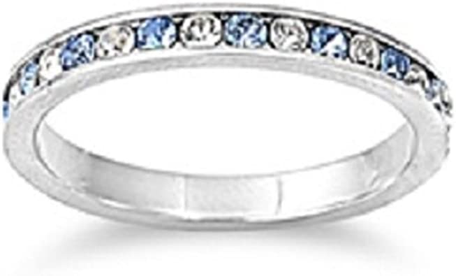 CloseoutWarehouse Clear Cubic Zirconia Eternity Ring Sterling Silver