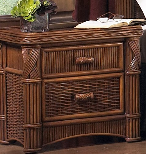 Wicker Paradise GQN102 Barbados Two Drawer Rattan Nightstand, Small