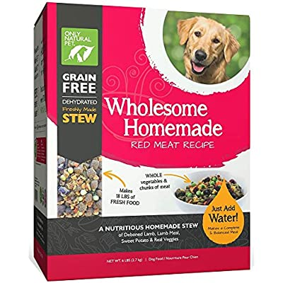 Only Natural Pet Wholesome Homemade Stew Dehydrated Dog Food - Human Grade Formula That Contains Real Wholesome Nutrition, Low Glycemic, Non-GMO